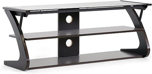 Baxton Studio Studio Sculpten Modern TV Stand with Glass Shelves, Dark Brown Black, 45.2 W x 15.7 D x 17.7 H
