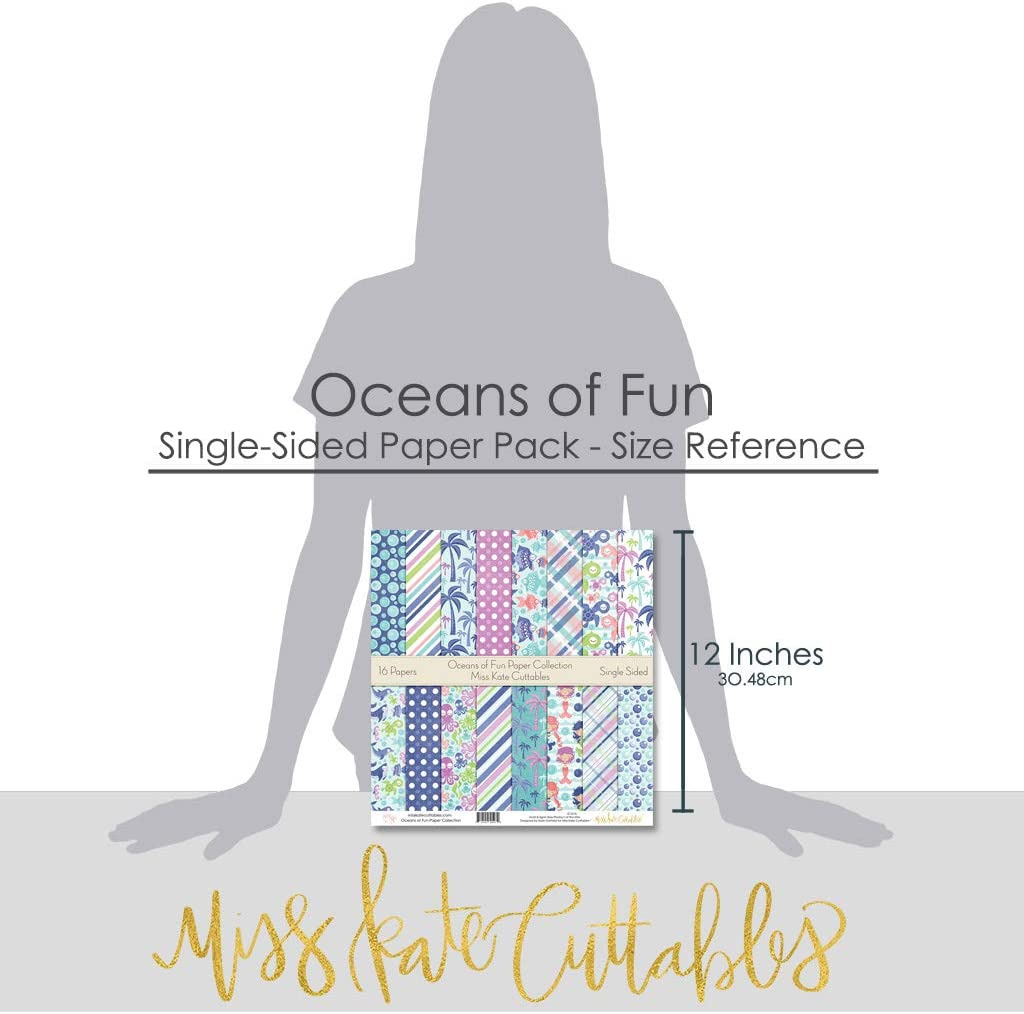 Oceans of Fun Scrapbook Premium Specialty Paper Single-Sided 12x12 Collection Includes 16 Sheets by Miss Kate Cuttables Pattern Paper Pack