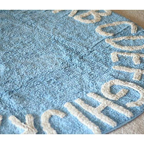 Kids ABC Alphabet Learn and Play Washable Area Rug | 100% Cotton | Size: 4 Feet Round Color: Blue