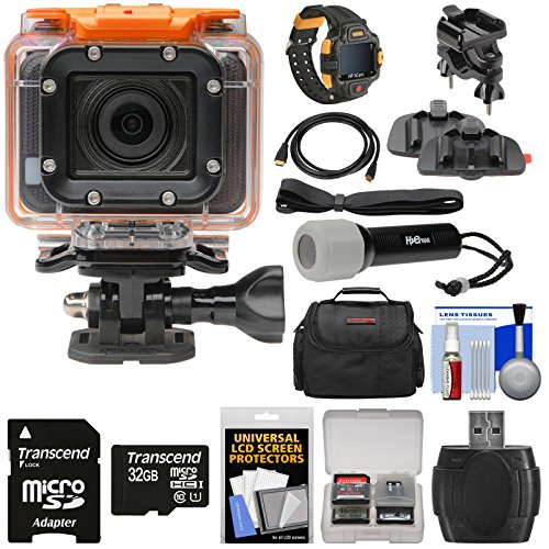 HP AC300w 1080p HD Wi-Fi Action Camera Camcorder & LCD Wrist Remote with Action Mounts + 32GB Card + Underwater LED Torch + HDMI Cable + Case + Kit