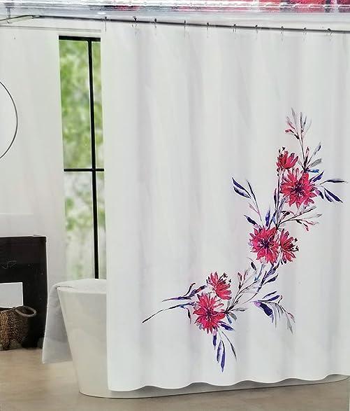 Amazon.com: Tahari Home Martina Shower Curtain - Red Flowers with ...