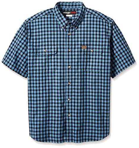 Wrangler Men's Big and Tall Riggs Workwear Foreman Plaid Work Shirt, Black, (Big Tall Workwear)