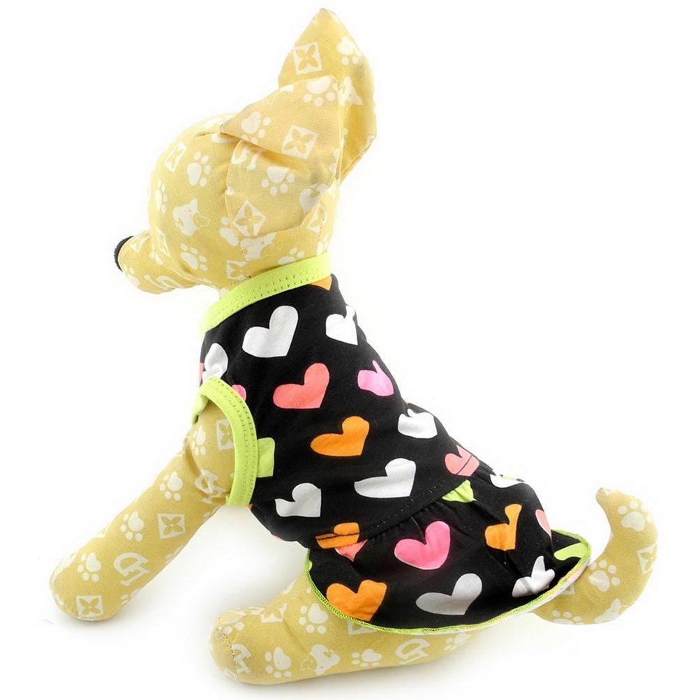 Zunea cuori motivo cane femmina vestito in cotone morbido Pet estate Sundress gilet magliette senza maniche, abiti, per piccolo cucciolo di cane gatto