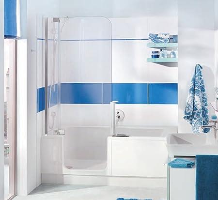 Badewanne mit Tür und Dusche 160 Artweger Twinline 2 Profil weiss ... | {Badewanne mit duschzone komplett 38}