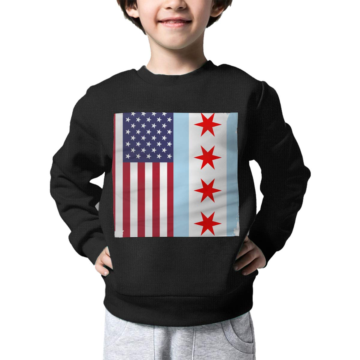 NJKM5MJ Boys Girls American Chicago Flag Lovely Sweaters Soft Warm Kids Sweater