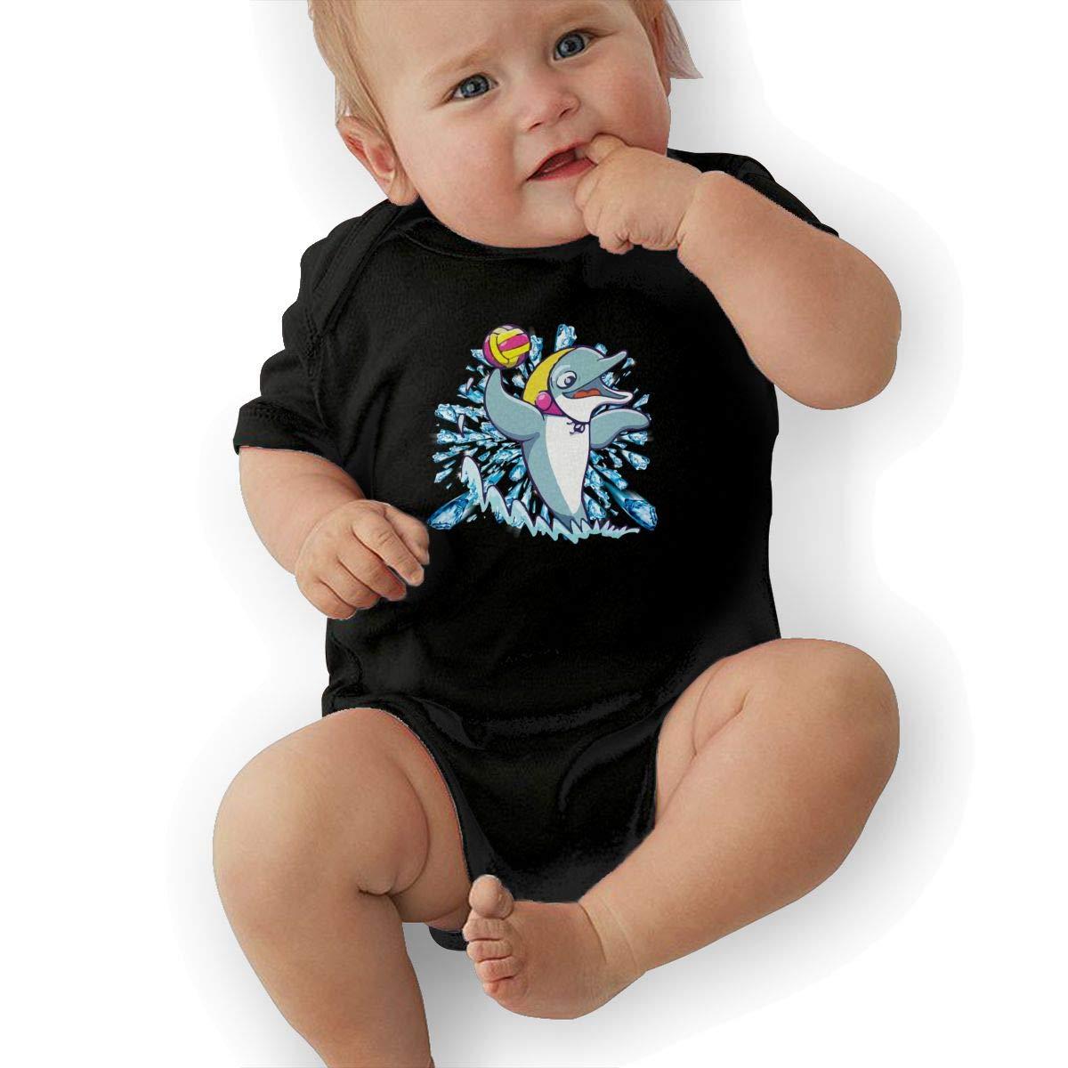 Dolphin Playing Water Polo Newborn Infant Toddler Baby Girls Boys Bodysuit Short Sleeve 0-24 MonthsBlack