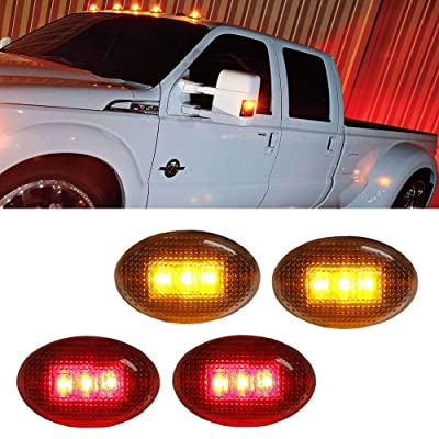 iJDMTOY Clear Lens Amber/Red LED Rear Bed Side Marker Lights Set Compatible With Ford F350 F450 Super Duty Truck Double Wheel Side Fenders: Automotive