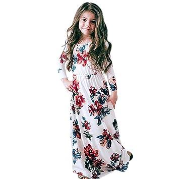 ab485fa0e Ropa Niña 2- 8 Años, Logobeing Vestidos Niñas Fiestas Boda Manga Larga  Ceremonia Estampado de Flores Princesa Party: Amazon.es: Deportes y aire  libre