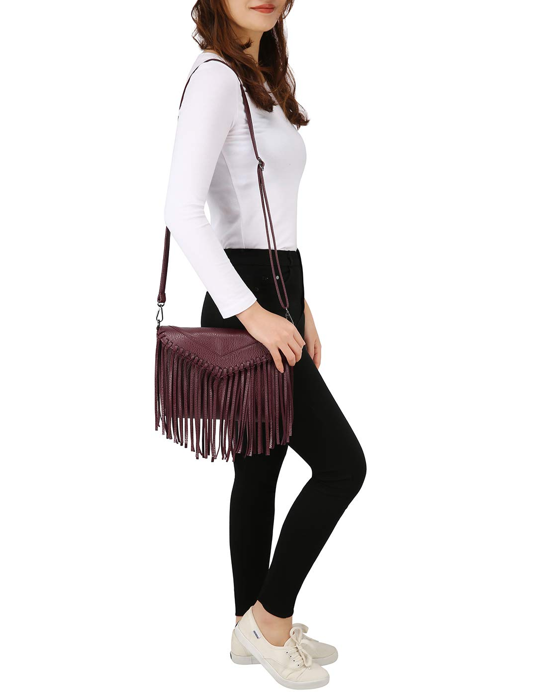 HDE Women's PU Leather Hobo Fringe Crossbody Tassel Purse Vintage Small Handbag by HDE (Image #4)