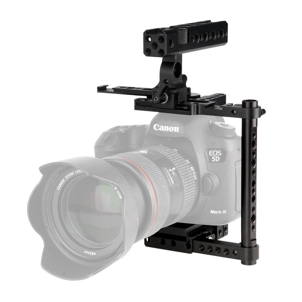 NICEYRIG Universal DSLR Camera Cage with NATO Handle NATO Rail Applicable Canon 5D4 5D3 5D2 6D2 6D 7D 80D Compatible with Nikon D850 D810 D810A D800E D800 D750 D700 Applicable Panasonic G9 GH5s GH5 Compatible with Sony A7III A7RIII A7M3 A9