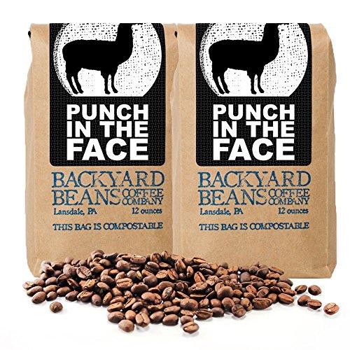 Backyard Beans Roast Coffee Beans - Punch in the Face - Dark Roast Coffee Blend - Specialty Grade, Fair Trade, Organic Coffee Beans - Small Batch Roast - Honduras Coffee Beans - 24 Ounces