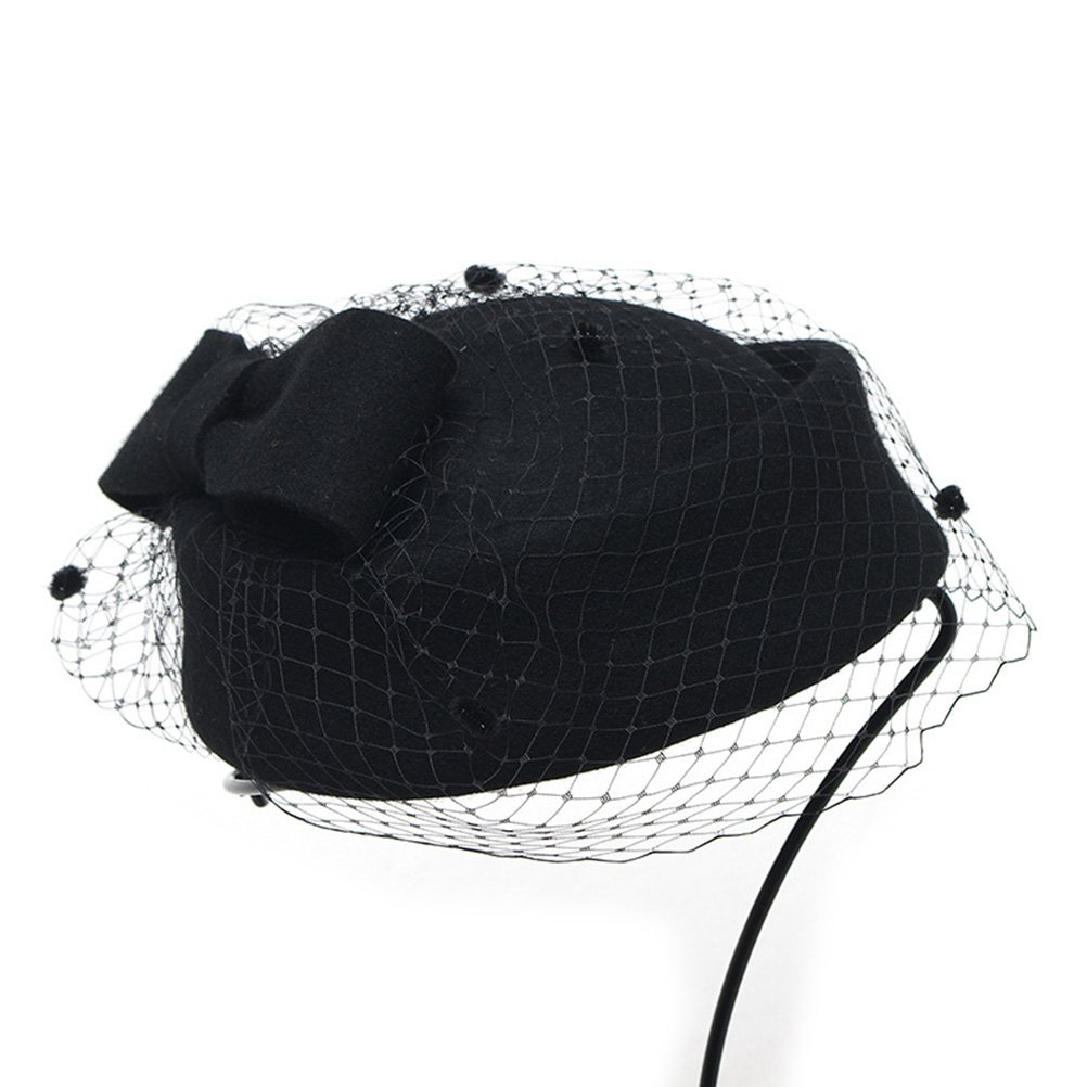 LEORX Lady Dress Fascinator Wool Felt Pillbox Hat with Bow Veil (Black)