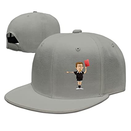CaCaJessica Men s Soccer Referee Holds Red Card Funny Basketball Ash Caps  Adjustable Snapback 96eab2592d3