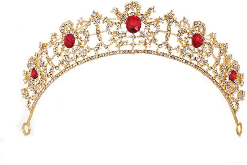 王冠 ティアラ クラウンティアラプロムクイーンクラウンキンセネラクレメンテクラウンプリンセスクラウンラインストーンクリスタルブライダルクラウンチアラ女性用 ヘアアクセサリー (Color : Red)