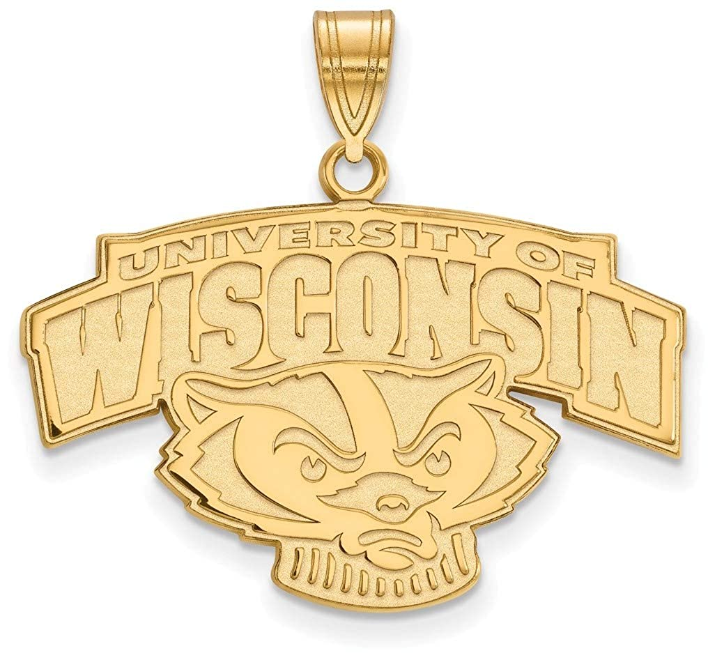 Gold-Plated Sterling Silver University of Wisconsin Large Pendant LogoArt GP077UWI