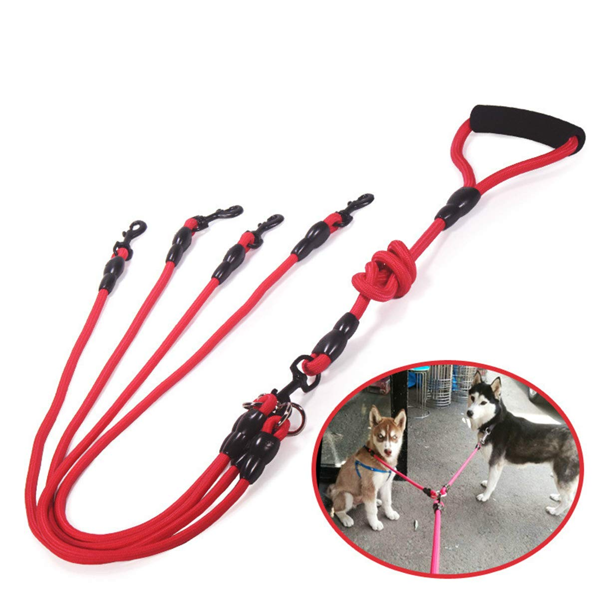 Black four dog leash Black four dog leash PETFDH Nylon Two Three Four Dogs Leash Detachable Pet Lead Climbing Foam Handle 1 Leash for 2 Or 3 Or 4 Dogs Small Dog Traction Rope Black Four Dog Leash