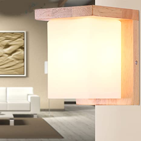 Injuicy Modern Wooden Base Glass Lampshades Block Wall Lights Fixtures  Contemporary E27 Led Wood Wall Lamp