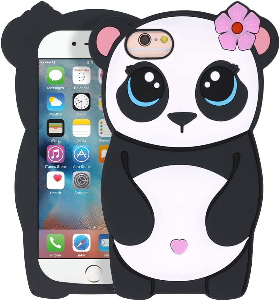 YONOCOSTA iPhone 6 Case, iPhone 6S Case, Funny 3D Cartoon Cute Animals Panda Girl Shaped Soft Silicone Full Protection Shockproof Back Case Cover for iPhone 6 / 6S (4.7