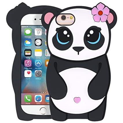 Yonocosta Iphone 6 Case Iphone 6s Case Funny 3d Cartoon Cute Animals Panda Girl Shaped Soft Silicone Full Protection Shockproof Back Case Cover For