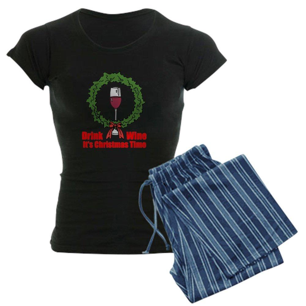CafePress - Christmas Wine Tme Pajamas - Womens Novelty Cotton Pajama Set, Comfortable PJ Sleepwear