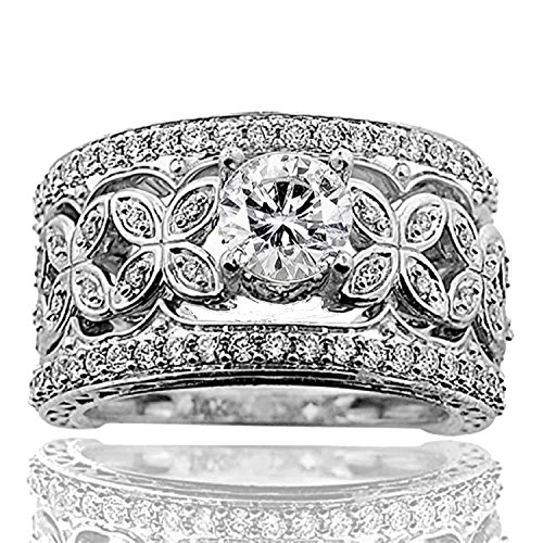 (Midwest Jewellery 14K White Gold Bridal Wedding Set Diamonds Vintage Round Solitaire Extra Wide (1.4ctw, i1/i2, i/j))
