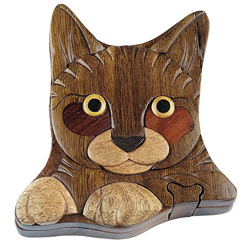 Hand Carved in Vietnam Wooden CAT Puzzle Box- Intarsia Wood Art