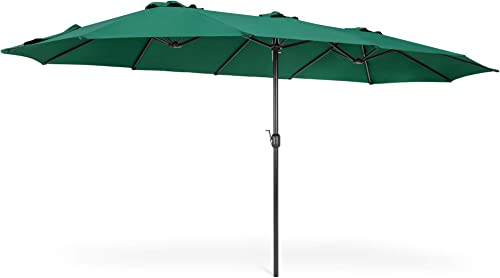 Best Choice Products 15x9ft Large Double-Sided Rectangular Outdoor Aluminum Twin Patio Market Umbrella w/Crank and Wind Vent