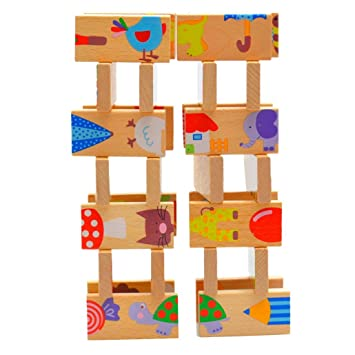 dehang pcs puzzle domin animal bloques piezas de construccin de madera para bebs