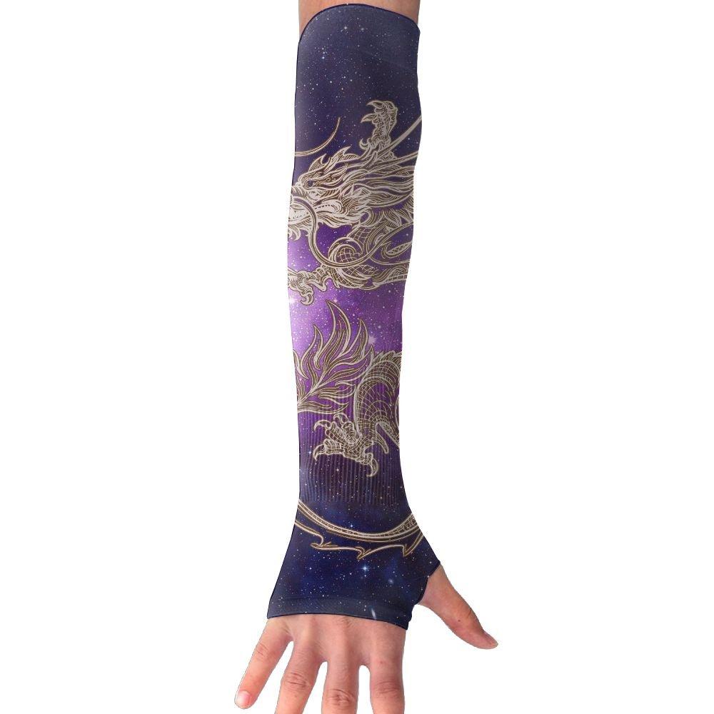 Men Women Galaxy Dragon Sense Ice Outdoor Travel Arm Sleeves Sunblock Cooler Gloves For Cycling/Golf/Running/Basketbal/Driving