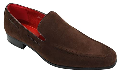fe56b488045 Mens Suede Slip On Loafers Driving Shoes Formal Smart Casual Leather  Italian Brown  Amazon.co.uk  Shoes   Bags
