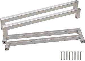 Probrico 5 Pack 10 inch (256mm) Hole Centers Square Corner Kitchen Cabinet Door Handles and Knobs Nickel Brused Drawer Pulls Barthroom Bedroom Furniture Handles Stainless Steel