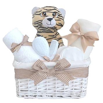 Cute Tiger Baby Shower Hamper Basket Unisex Set Baby Gift Baskets