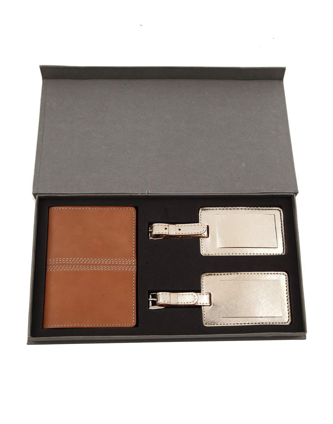 JL Collections Beige Leather Passport Holder with Gold Luggage Tag Gift Sets (Pack of 3)