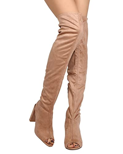 4947fe98fde0 Qupid Women Faux Suede Over The Knee Peep Toe Chunky Heel Boot GJ27 - Taupe  (