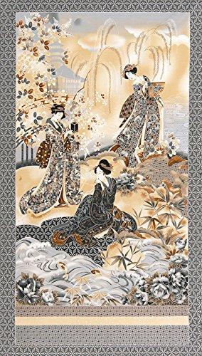 Asian Fabric - Oriental Traditions Imperial 12 - Geisha Gathering PANEL - Grey, Brown, Tan & Silver