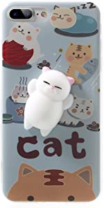 XYIYI Kneading Squishy Cat iPhone 8 Plus/iPhone 7 Plus Case, Finger Pinch 3D Cute Soft Silicone Poke Squishy Cat Phone Back Protective Cover for Apple iPhone 8 Plus/iPhone 7 Plus / (Pattern A)