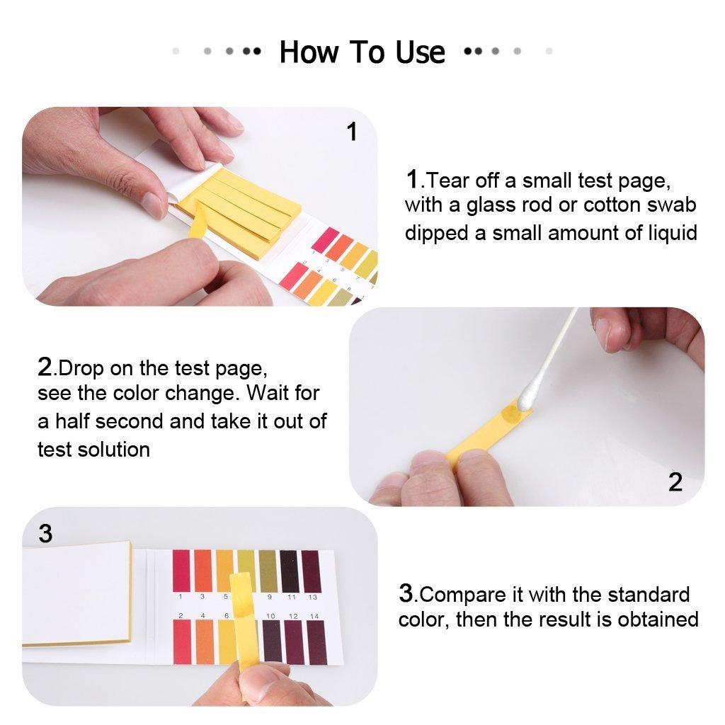 5 paquetes de 80 tiras de prueba de pH, kit universal de prueba de tornasol de 1-14 de rango completo: Amazon.es: Salud y cuidado personal