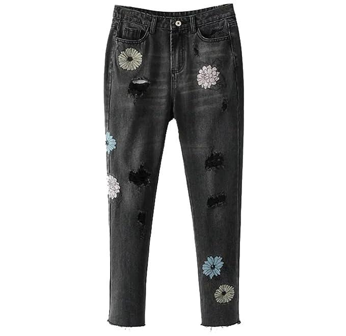 WanYang Mujer Jeans Flores de Bordado Pantalones Vaqueros ...