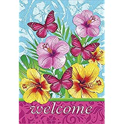JoyPlus Welcome Birds & Flower Garden Flag - Vertical Double Sided Spring Summer Decorative Rustic/Farm House Small Decor Yard Flags Set for Indoor & Outdoor Decoration, 12 X 18 Inch
