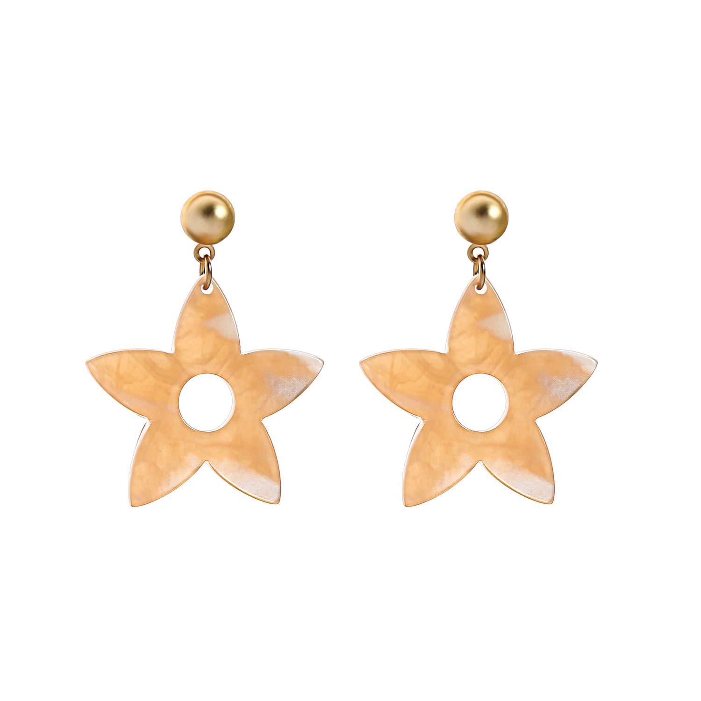 Miss Kiss Statement Simple Fashion Vintage Gold Earrings Resin Drop Star Earrings Dangle Earrings Women Girls Wedding Jewelry Gift ED01641c