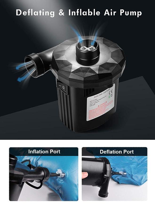 Urslif Bomba de Aire Electrica, 3 Boquillas Inflador Eléctrico Portátil Hinchador Eléctrico Inflador/Deflador para Colchones de Aire, Botes Inflables, ...