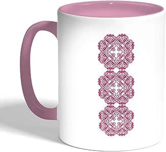 كوب سيراميك للقهوة بتصميم رسوم زخرفية عمودية ، لون بنك