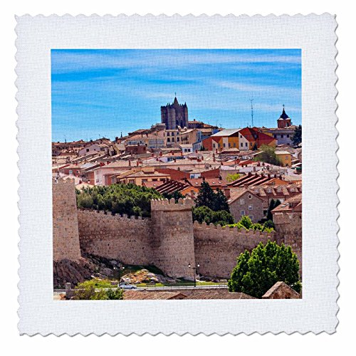 3dRose Danita Delimont - Cities - Looking out over the ancient medieval city of Avila, Castile, Spain. - 18x18 inch quilt square (qs_257893_7) by 3dRose