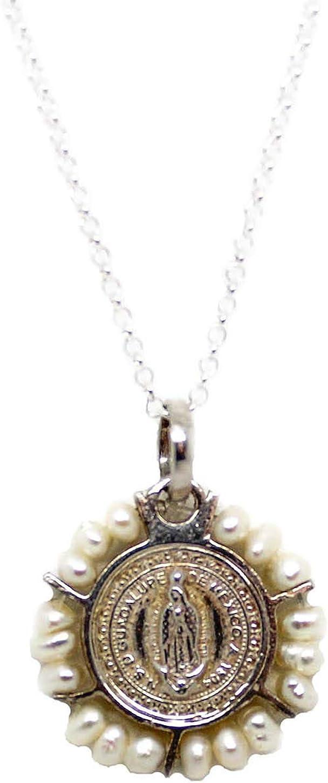 Colllar medalla virgen de Guadalupe de plata de ley bordeada de piedras naturales, regalo comunión, regalos originales, mujer o niña, caja y bolsa de regalo incluido Regalo Dia de la Madre