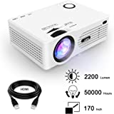 QKK 2200 Lumens LCD Projector, Mini Home Theater Projector, Supports 1080P Full HD, HDMI, VGA, USB x 2, SD, AV and Headphone Interface, HDMI and AV Cable, Multimedia Home Theater Entertainment, White.
