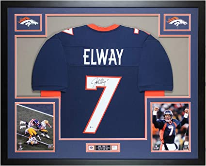 John Elway Autographed Blue Denver Jersey - Beautifully Matted and ...