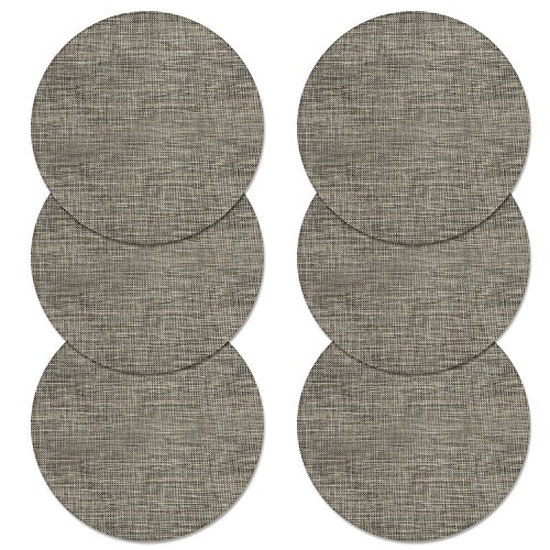 U'Artlines 14 Inch Round Place Mat for Kithen Table Heat Insulation Stain-resistant Washable Vinyl Placemats Set of 6 (Round, Brown)