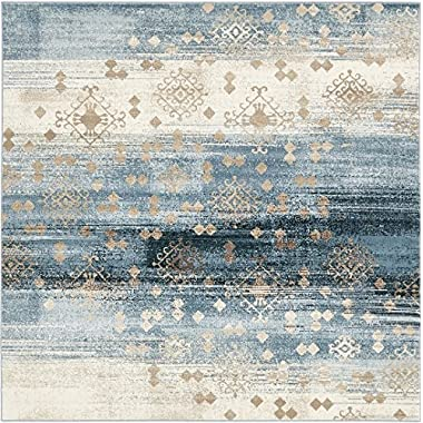 A2Z Rug Modern Abstract Dark Blue 6' x 6' Monaco Collection Area rug - rugs for living room - rugs for dining room & bedroom - Floor Carpet