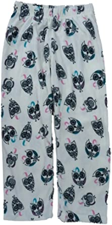 Girls Ivory Fleece Sleep Pants Owl Print Pajama Bottoms Lounge