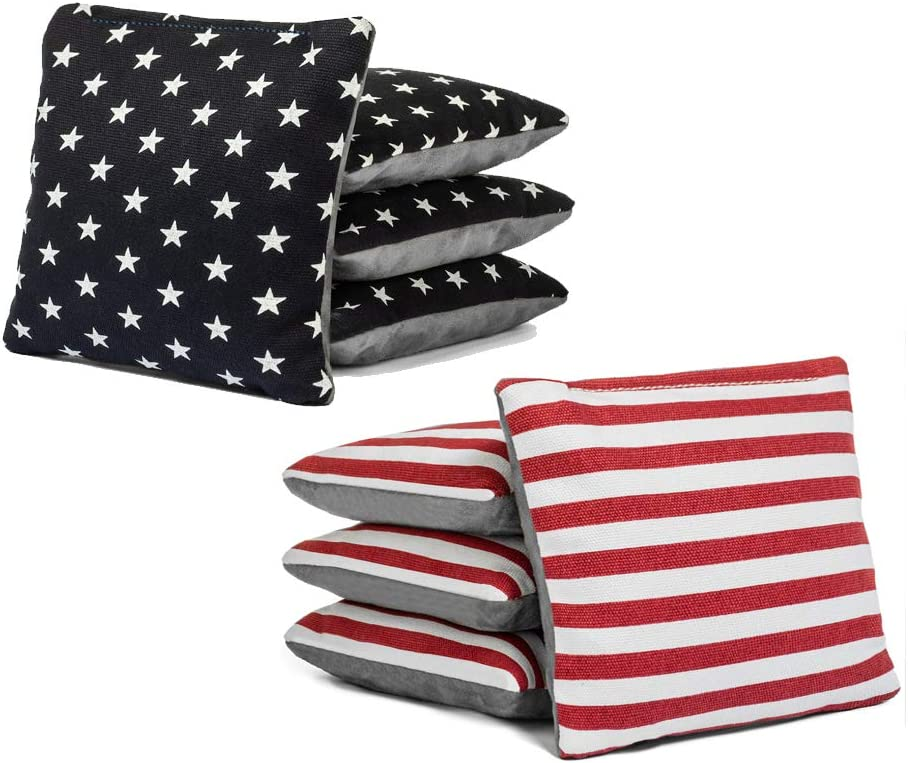 Color Combos Tailgating Pros Pro-Style Two-Sided Cornhole Bags Slick /& Stick Resin Filled Suede and Duck Canvas Set of 8-20
